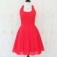 My Lady IV - Floral Halter Dress Spring Summer Sundress Red Lace Dress Lace Party Prom Dress Red Lace Wedding Bridesmaid Dress XS-XL