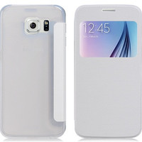 PU & Plastic Protective Flip Case for Samsung Galaxy S6