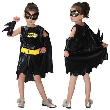 Halloween Christmas Batman Girls Superhero Cosplay Costumes Carnival Party For Children Batgirl Clothes Fancy dress cloak