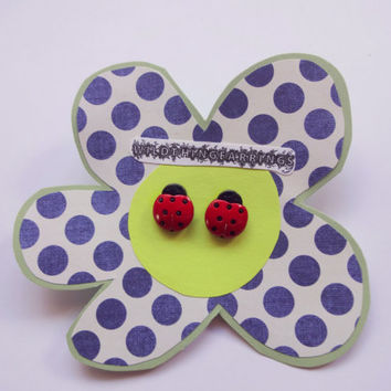 Lily The Ladybug Button Stud Earrings