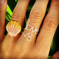 Love Heart Wrapped Wire Word Ring,Sterling Silver