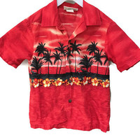 Kids Hawaiian Shirt, Red Vintage Boys Shirt Short Sleeve Casual Button Down Shirt Unisex Kids clothes tiki shirt vacation shirt palm trees 8