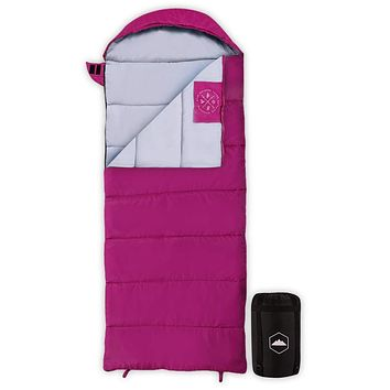 """Kids Sleeping Bag for Girls & Boys - Camping & Backpacking Lightweight & Compact Outdoor Sleepover Sleep Bags for Youth, Children & Teens - 3 Season - Summer, Warm & Cool Weather - Fits up to 5'1"""" Pink"""