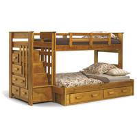 Chelsea Home 36500-S Twin Over Full Bunk Bed w/ Stairway Chest & Underbed Storage in Honey