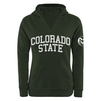 Colorado State Rams Women's Chain V-Notch Pullover Hoodie - Green
