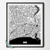 Nice Print, France Poster, Nice Poster, Nice Map, France Print, Street Map, France Map, Wall Decor, Room Decor, Wall Art