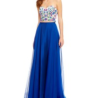 Ellie Wilde Strapless Floral Embroidered Top Two-Piece Long Dress | Dillards