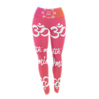 "KESS Original ""With My Omies Pink"" Coral Magenta Yoga Leggings"