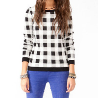 Checkered Knit Sweater | FOREVER 21 - 2030187245