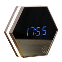 SROCKER Mirror Rechargeable Alarm Clock MC33 Smart Led Digital Display with Cosmetic Mirror Night Light Thermomter Desk or Room Decoration (Champagne) Champagne
