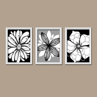 Wall Art Canvas Artwork Black White Gray Flower Petal Burst Outline Dahlia Floral Bloom  Set of 3 Trio Prints Decor Bedroom Bathroom Three