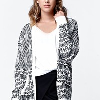 LA Hearts Dropped Shoulder Intarsia Cardigan - Womens Sweater - Anthracite