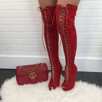 DCK7YE Red Peep Toe Thigh High Boots