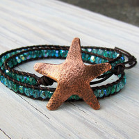 Double Leather Wrap Bracelet, Beachy, Boho Style, Starfish, Czech Glass, Bold Jewelry, Gifts for her, Gifts under 50