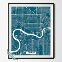 Edmonton Print, Canada Map Poster, Edmonton Street Map, Canada Print, Alberta, Room Decor, Home Decor, Wall Art, Back To School