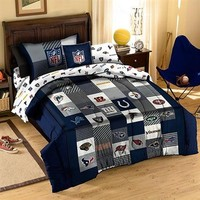 NFL 3-Piece Quilt & Sham Set - Navy Blue