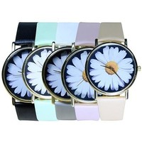 Vintage Style Women's Student's Daisy Wrist Watch Quartz Analog Faux Leather Flower Pattern  GIL = 5987867841