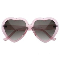 zeroUV - Lovely Oversized Heart Shaped Sunglasses Transparent Clear Frames (Pink)