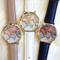 Free shipping 2015 New Hot Sale Fashion World Map belt fashion quartz watch Geneva Wristwatch for women      W150