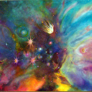 Colorful Digital Print of Acrylic Painting by Artist, Stars, Nebula, Cosmos, Signed Print by Artist
