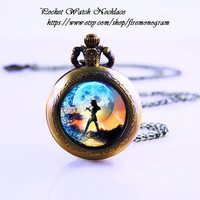 Peter Pan Pocket Watch Necklace,Bronzen Necklace,Women Necklace,Personalized Gift,vintage glass,Jewelry,Zodiac Pendant