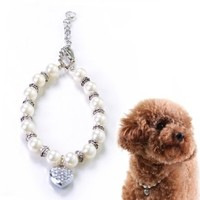 """Alfie Couture Designer Pet Jewelry - Zoe Crystal Heart Pearl Necklace - Size: S (7""""- 9"""") for Dogs and Cats"""