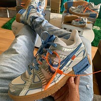 """OFF-WHITE x NIKE RUBBER DUNK """"University Blue"""" Low-top Leather Sneakers Shoes"""