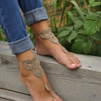Crochet Tan Barefoot Sandals, Nude shoes, Foot jewelry,Wedding, Victorian Lace, Sexy, Yoga, Anklet , Bellydance, Steampunk, Beach Pool