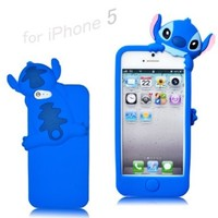Disney Stitch Hide and Seek Silicone Case Cover for Iphone 5 - Blue:Amazon:Cell Phones & Accessories