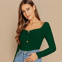 Button Front Rib-knit Form Fitting Tee Female Long Sleeve Crop Top Elegant T-shirt Women Tops Tees