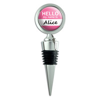 Alice Hello My Name Is Wine Bottle Stopper