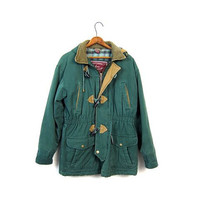 Vintage Barn Coat Green Chore Jacket 90s Ranch Coat TOGGLES Cotton Plaid Lined Hooded Hipster Coat 6 Pockets Large Unisex