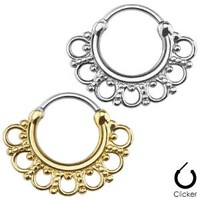 Surgical Steel Brass Hinged Septum Clicker Nose Ring Hoop Tribal Fan Indian 16G