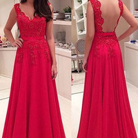 Red Applique Backless Prom Dresses
