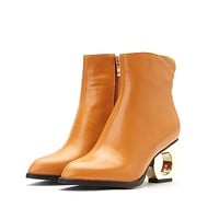 Pointed Toe Side Zip Ankle Boots Strange Heel Shoes 8240