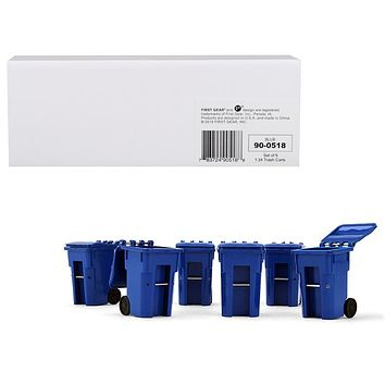 Set of 6 Blue Garbage Trash Bin Containers Replica 1/34 Models by First Gear