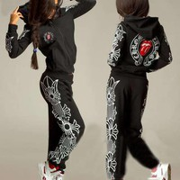 """Chrome Hearts"" Women Casual Fashion Multicolor Letter Print  Hooded Long Sleeve Set Two-Piece Sportswear"