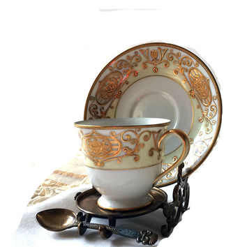 Noritake Christmas Ball 175 Footed Demitasse Cup and Saucer Set Gold Moriage Fine China