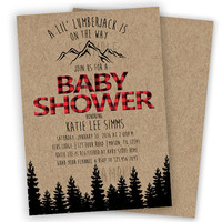 Lil Lumberjack Baby Shower Invitation - Boy Baby Shower Invites - Its a Boy - Little Man - Mountain Red Plaid Rugged - buffalo plaid Trees
