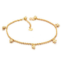 shining 18k gold plated anklets loving heart pendants ankle bracelet foot chain jewelry for women girl style gift TIML66
