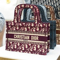 DIOR New Embroidered Letters Women's Shopping Handbag Shoulder Bag Book Tote Bag