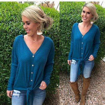 From Now On Waffle Tie Top: Teal