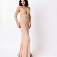 1930s Style Peach Nude Sexy Sheer Sleeve Long Dress 2016 Prom Dresses