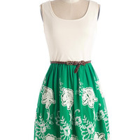 ModCloth Festival Mid-length Sleeveless A-line Fields of Vision Dress