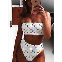 Louis Vuitton LV New Fashion Off Shoulder Strapless Two Piece High Waist Bikini And Headband Suit