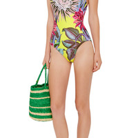 Cactus Lace-Up Back One-Piece Swimsuit
