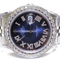Rolex Mens Stainless Steel Datejust 16220 Diamond Blue Roman Dial / 3.50ct Bezel
