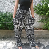 Black Elephant Printed Trousers Yoga Pants Hippie Baggy Boho Fashion Style Clothing Rayon Gypsy Tribal Comfy Clothes For Beach Summer