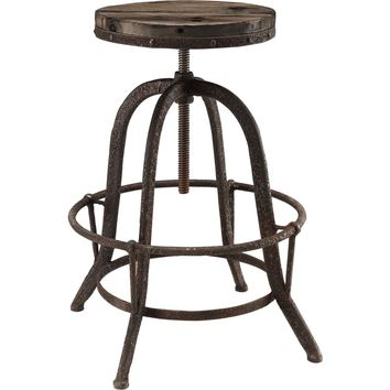 Collect Wood Top Bar Stool Brown Pine & Cast Iron