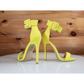 """So Me Stellar Bright Yellow Wide Ankle Strap 4.5"""" High Heel Shoe"""